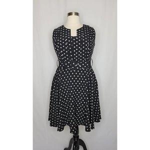 City Chic Trendy Polka-Dot Fit & Flare Dress